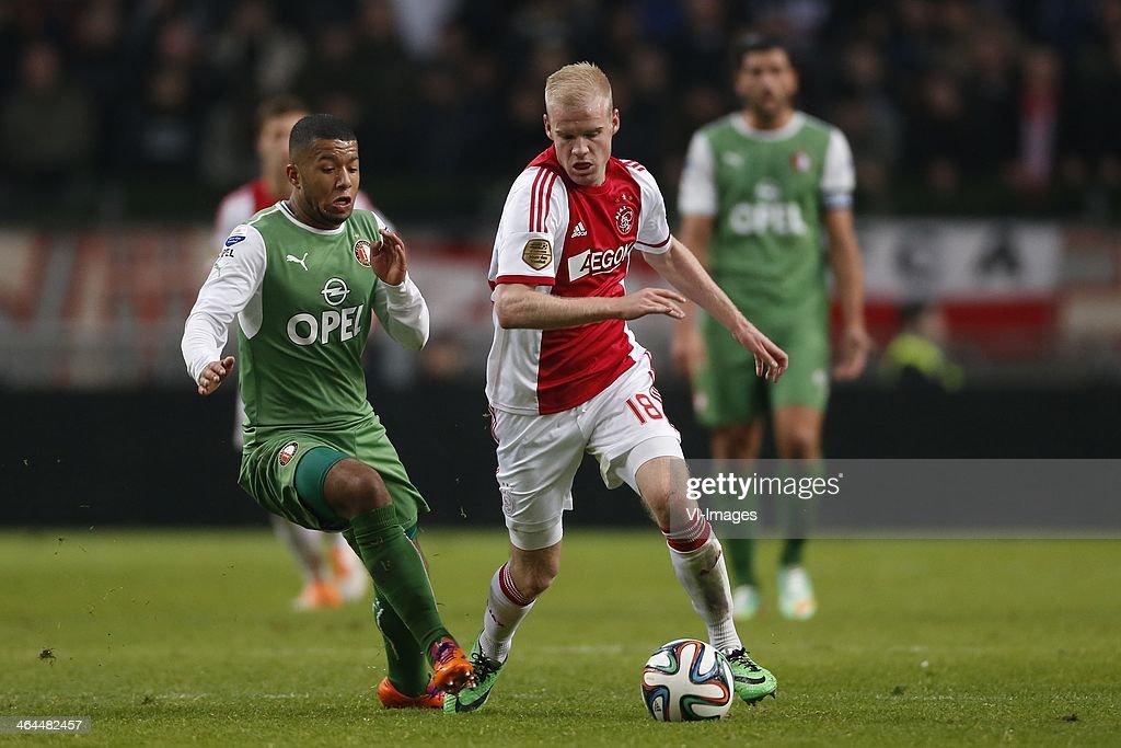 Tony Vilhena of Feyenoord Davy Klaassen of Ajax during the Dutch cup match between Ajax Amsterdam and Feyenoord at Amsterdam Arena on January 22 2014...