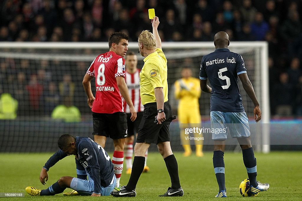 , Tony Vilhena of Feyenoord, Kevin Strootman of PSV, Referee Kevin Blom, Bruno Martens Indi of Feyenoord during the Dutch Cup match between PSV Eindhoven and Feyenoord at the Philips Stadium on january 30, 2013 in Eindhoven, The Netherlands