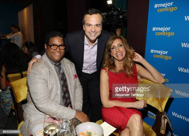 Tony Waller Jorge Plasencia and Lili Estefan are seen during Walmart's 'Mejor Contigo' event at COYA restaurant on April 5 2017 in Miami Florida