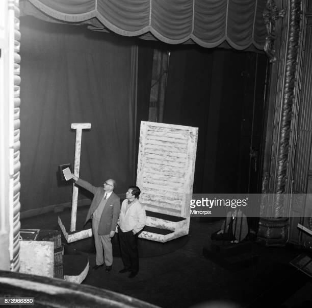 Tony Walton working on stage at the Lyric Theatre Hammersmith He is the stage and costume designer in William Brach's play 'A Wreath for Udomo' 30th...