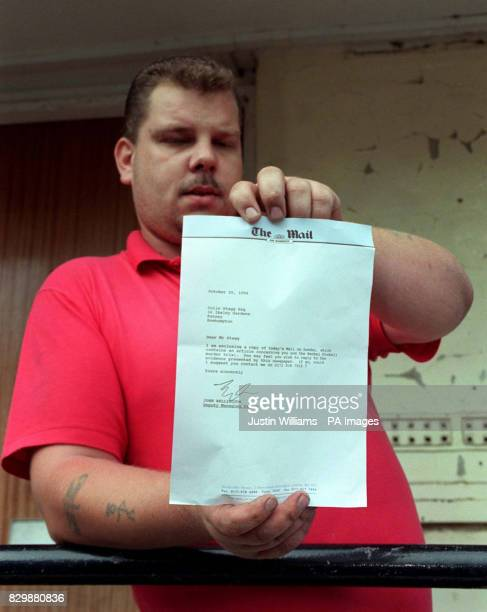 Tony Ward a friend and neighbour of Colin Stagg holds a letter from The Mail on Sunday delivered to Mr Stagg's southwest London home asking for him...