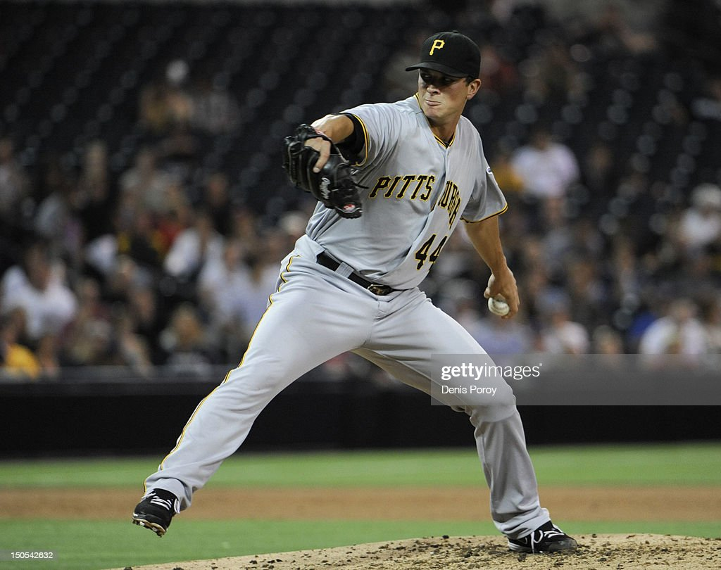 Tony Watson #44 of the Pittsburgh Pirates pitches during the fifth inning of a baseball game against the San Diego Padres at Petco Park on August 20, 2012 in San Diego, California.