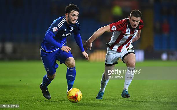 Tony Watt of Cardiff beats Jack O' Connell of Brentford to the ball during the Sky Bet Championship match between Cardiff City and Brentford at...