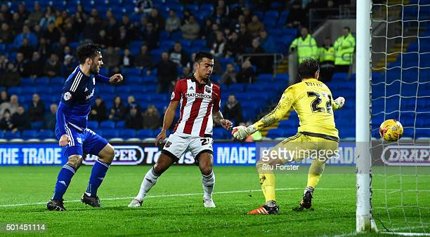 Tony Watt of Cardiff scores the opening goal during the Sky Bet Championship match between Cardiff City and Brentford at Cardiff City Stadium on...