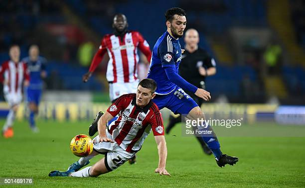 Tony Watt of Cardiff skips past Jack O' Connell of Brentford on the way to setting up the second goal during the Sky Bet Championship match between...