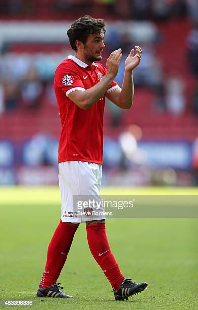 Tony Watt of Charlton Athletic applauds the Charlton supporters after their 20 victory in the Sky Bet Championship match between Charlton Athletic v...