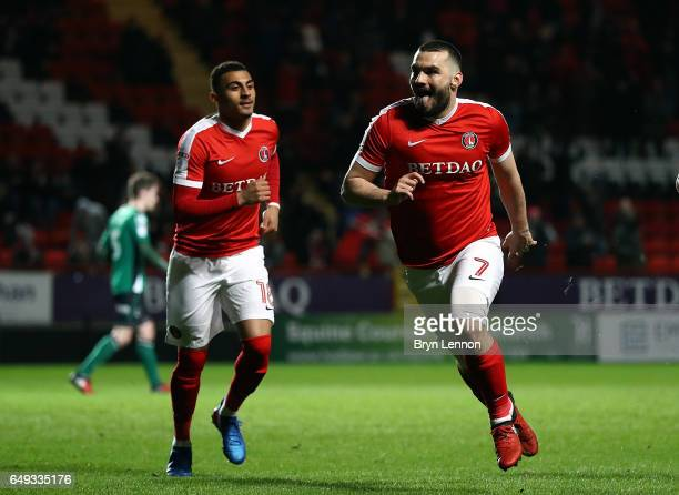 Tony Watt of Charlton Athletic celebrates scoring during the Sky Bet League One match between Charlton Athletic and Scunthorpe United at The Valley...