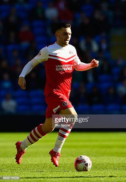 Tony Watt of Charlton in action during the Sky Bet Championship match between Cardiff City and Charlton Athletic at Cardiff City Stadium on March 7...