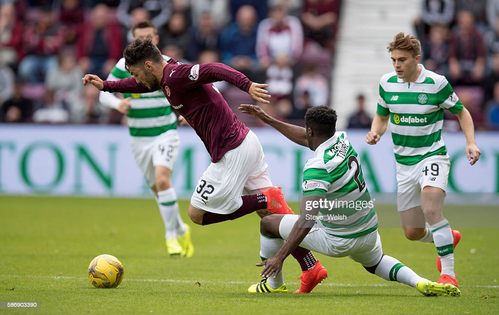 Tony Watt of Hearts goes past Kolo Toure of Celtic during the Ladbrokes Scottish Premiership match between Hearts and Celtic on August 7, 2016 in Glasgow, Edinburgh.