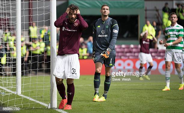 Tony Watt of Hearts holds his head after he missed a chance to score during the Ladbrokes Scottish Premiership match between Hearts and Celtic on...