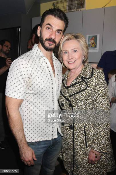 2017 Tony Winner for Best Supporting Actor in a Play Michael Aronov and Hillary Clinton pose backstage at the Tony Award Winning Best Play 'Oslo' on...