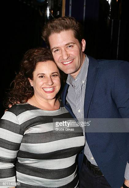 Tony Winner Marissa Jaret Winokur and Matthew Morrison pose backstage during a special reunion as the Original Broadway Cast of 'Hairspray'...