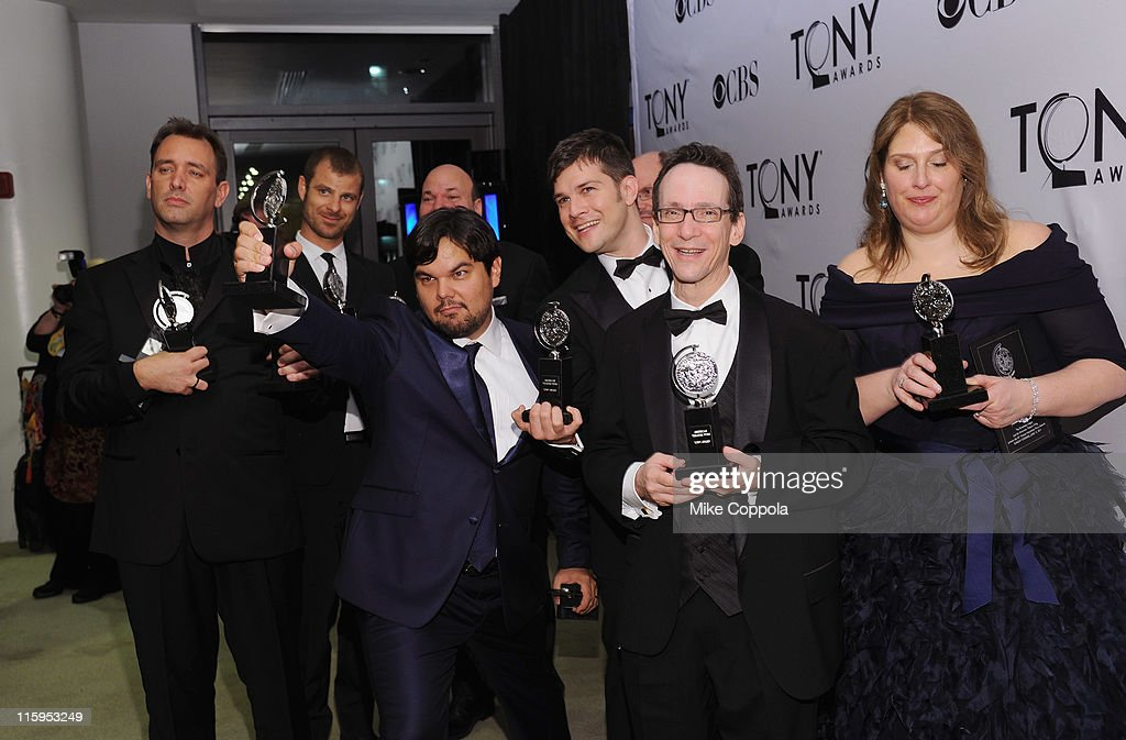 Tony winners for 'Book of Mormon' Trey Parker, Matt Stone, Casey Nicholaw, Robert Lopez, Scott Rudin, Stephen Oremus, Larry Hochman and Ann Garefino pose in the press room during the 65th Annual Tony Awards at the The Jewish Community Center in Manhattan on June 12, 2011 in New York City.