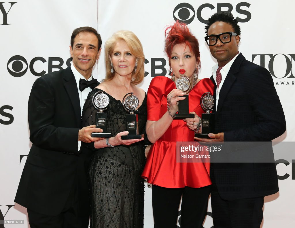 Tony winners' producer Hal Luftig, producer Daryl Roth, composer Cyndi Lauper and actor Billy Porter from the best new musical 'Kinky Boots' attend The 67th Annual Tony Awards at Radio City Music Hall on June 9, 2013 in New York City.