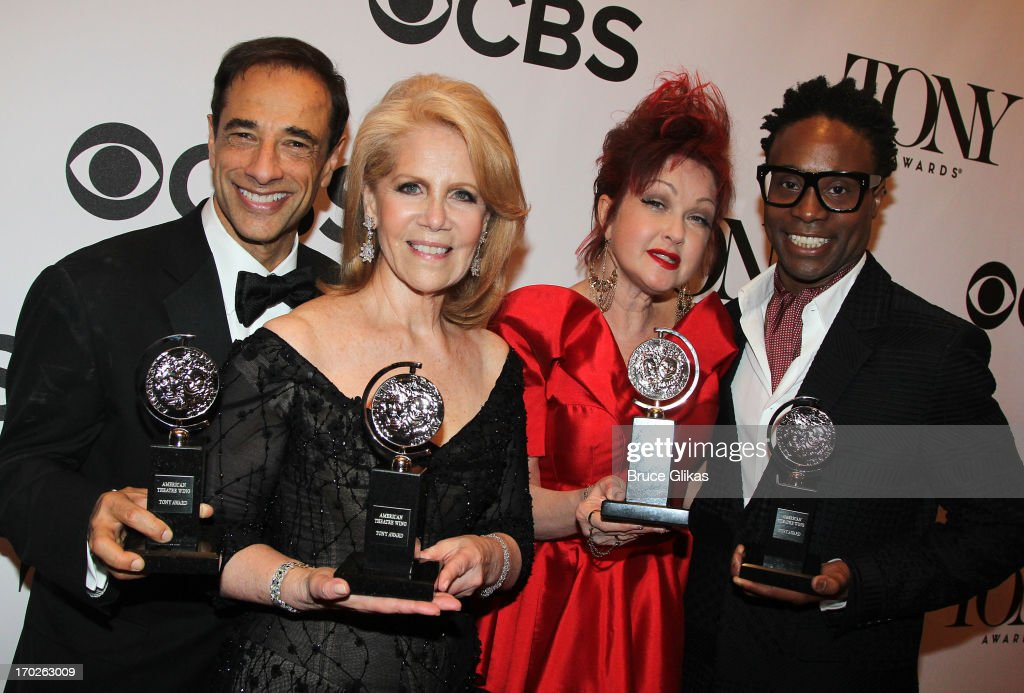 Tony winners' producer Hal Luftig, producer <a gi-track='captionPersonalityLinkClicked' href=/galleries/search?phrase=Daryl+Roth&family=editorial&specificpeople=240435 ng-click='$event.stopPropagation()'>Daryl Roth</a>, composer <a gi-track='captionPersonalityLinkClicked' href=/galleries/search?phrase=Cyndi+Lauper&family=editorial&specificpeople=171290 ng-click='$event.stopPropagation()'>Cyndi Lauper</a> and actor <a gi-track='captionPersonalityLinkClicked' href=/galleries/search?phrase=Billy+Porter&family=editorial&specificpeople=787592 ng-click='$event.stopPropagation()'>Billy Porter</a> from the best new musical 'Kinky Boots' attend The 67th Annual Tony Awards at Radio City Music Hall on June 9, 2013 in New York City.