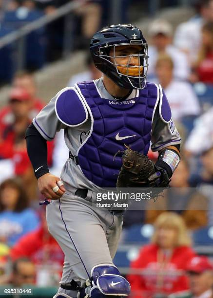 Tony Wolters of the Colorado Rockies during a game against the Philadelphia Phillies at Citizens Bank Park on May 23 2017 in Philadelphia...