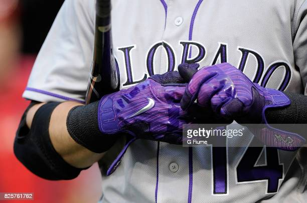 Tony Wolters of the Colorado Rockies wears Nike batting gloves against the Washington Nationals at Nationals Park on July 29 2017 in Washington DC