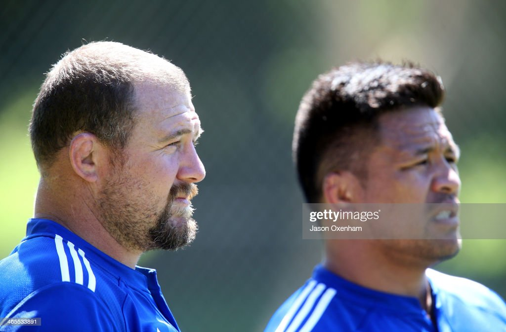 Tony Woodcock(L) and Keven Mealamu during an Auckland Blues Super Rugby training session at Unitec on January 28, 2014 in Auckland, New Zealand.