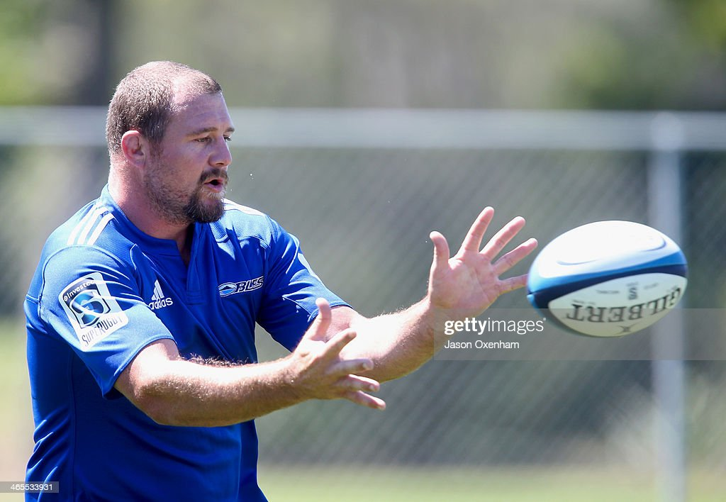 Tony Woodcock during an Auckland Blues Super Rugby training session at Unitec on January 28, 2014 in Auckland, New Zealand.