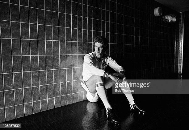 Tony Woodcock of FC Cologne sitting in a corridor at the training ground in Cologne Germany circa November 1979