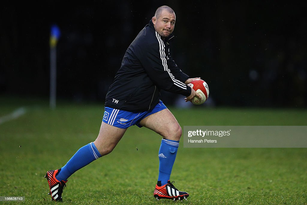 Tony Woodcock of the All Blacks runs through drills during a training session at the University of Glamorgan training fields on November 22, 2012 in Cardiff, Wales.