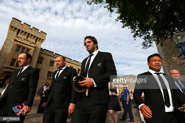 Tony Woodcock Sam Whitelock and Keven Mealamu of the New Zealand All Blacks following their RWC 2015 Welcome Ceremony at the Tower of London on...
