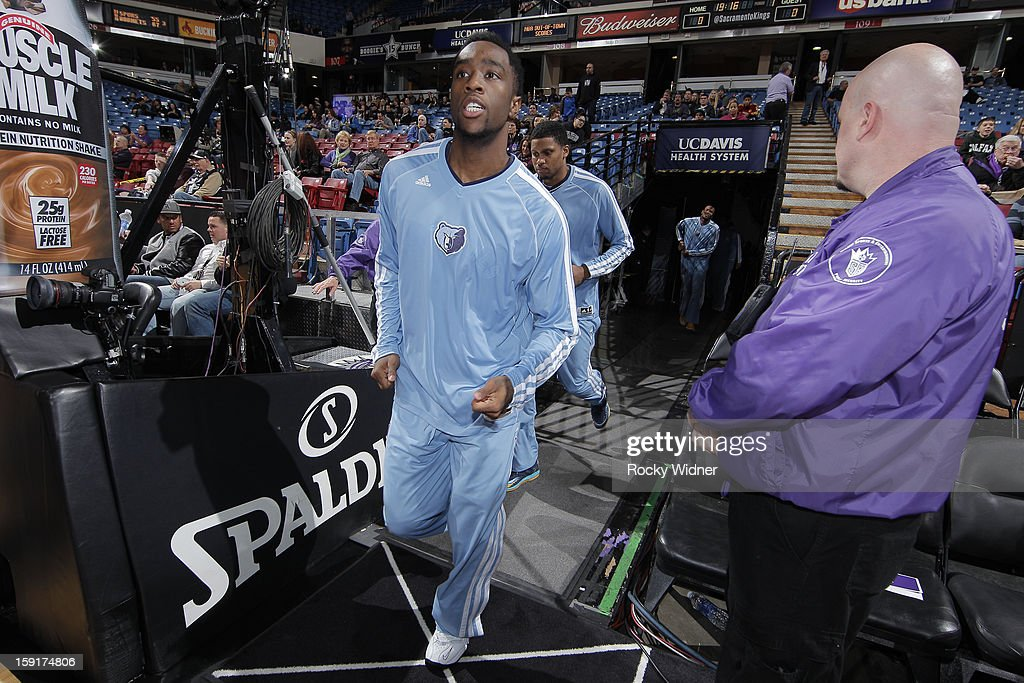 Tony Wroten #1 and Rudy Gay #22 of the Memphis Grizzlies run out of the tunnel before facing off against the Sacramento Kings on January 7, 2013 at Sleep Train Arena in Sacramento, California.