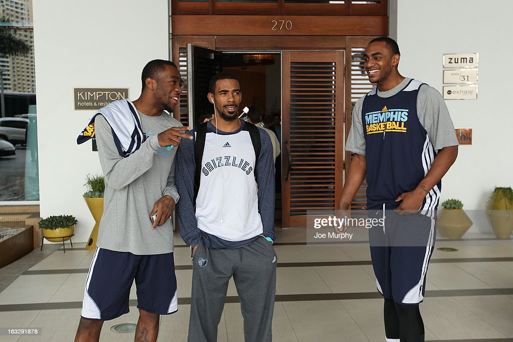 Tony Wroten #1, Marc Conley #11, and Darrell Arthur #00 of the Memphis Grizzlies during a team practice on March 2, 2013 at JW Marriott Marquis in Miami, Florida.