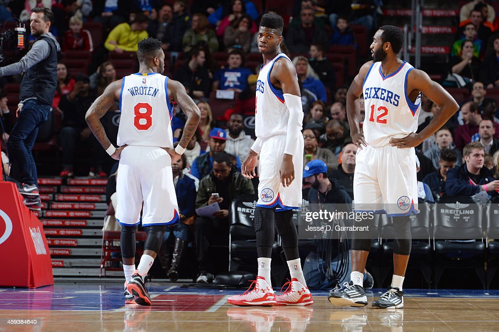 Tony Wroten Nerlens Noel and Luc Richard Mbah a Moute of the Philadelphia 76ers during the game against the Phoenix Suns on November 21 2014 at Wells...