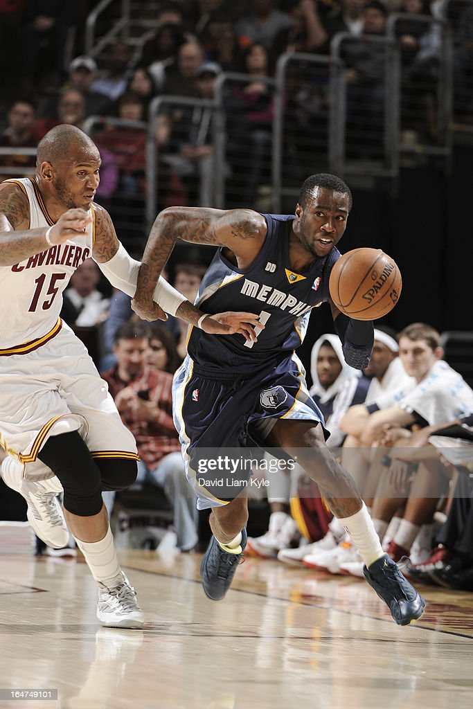 <a gi-track='captionPersonalityLinkClicked' href=/galleries/search?phrase=Tony+Wroten&family=editorial&specificpeople=7651920 ng-click='$event.stopPropagation()'>Tony Wroten</a> #1 of the Memphis Grizzlies brings the ball up court against the Cleveland Cavaliers at The Quicken Loans Arena on March 8, 2013 in Cleveland, Ohio.