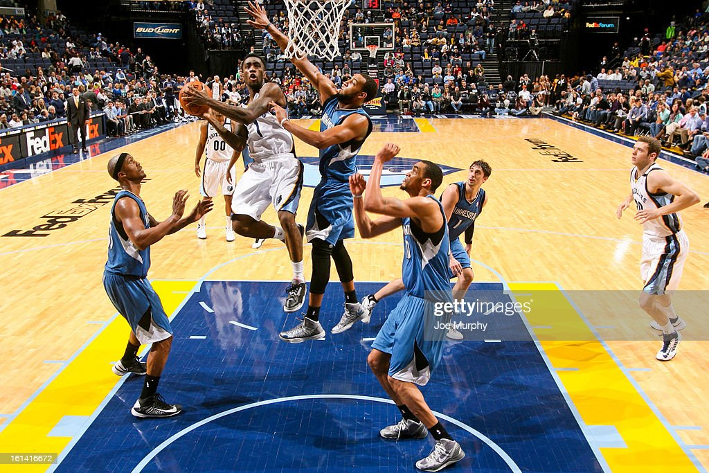 <a gi-track='captionPersonalityLinkClicked' href=/galleries/search?phrase=Tony+Wroten&family=editorial&specificpeople=7651920 ng-click='$event.stopPropagation()'>Tony Wroten</a> #1 of the Memphis Grizzlies drives to the basket against Derrick Williams #7 of the Minnesota Timberwolves on February 10, 2013 at FedExForum in Memphis, Tennessee.