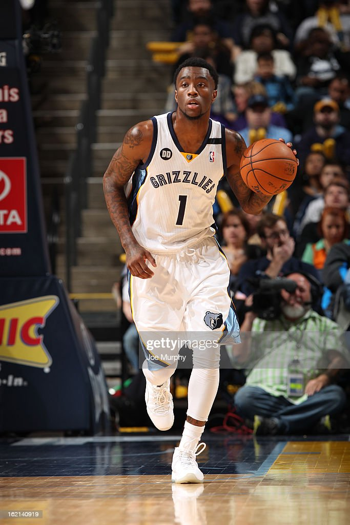 <a gi-track='captionPersonalityLinkClicked' href=/galleries/search?phrase=Tony+Wroten&family=editorial&specificpeople=7651920 ng-click='$event.stopPropagation()'>Tony Wroten</a> #1 of the Memphis Grizzlies handles the ball against the New Orleans Hornets on January 27, 2013 at FedExForum in Memphis, Tennessee.