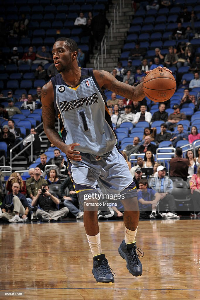 Tony Wroten #1 of the Memphis Grizzlies handles the ball against the Orlando Magic on March 3, 2013 at Amway Center in Orlando, Florida.