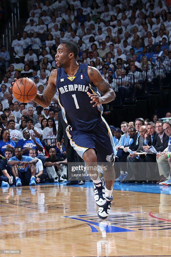 <a gi-track='captionPersonalityLinkClicked' href=/galleries/search?phrase=Tony+Wroten&family=editorial&specificpeople=7651920 ng-click='$event.stopPropagation()'>Tony Wroten</a> #1 of the Memphis Grizzlies handles the ball against the Oklahoma City Thunder in Game Two of the Western Conference Semifinals during the 2013 NBA Playoffs on May 7, 2013 at the Chesapeake Energy Arena in Oklahoma City, Oklahoma.