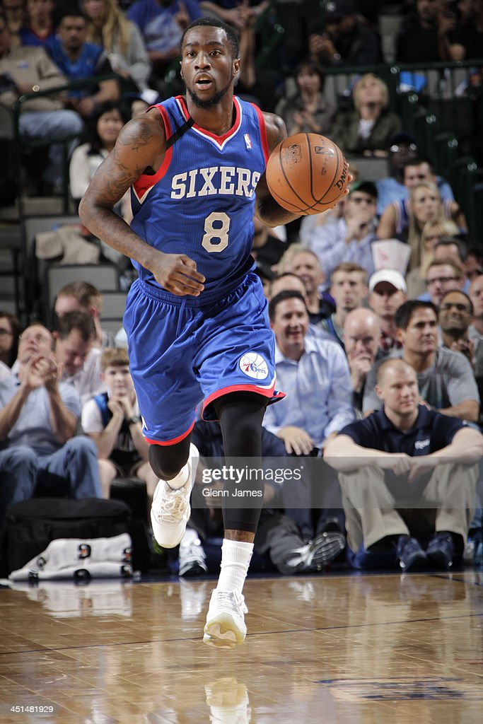 <a gi-track='captionPersonalityLinkClicked' href=/galleries/search?phrase=Tony+Wroten&family=editorial&specificpeople=7651920 ng-click='$event.stopPropagation()'>Tony Wroten</a> #8 of the Philadelphia 76ers dribbles the ball against the Dallas Mavericks on November 18, 2013 at the American Airlines Center in Dallas, Texas.