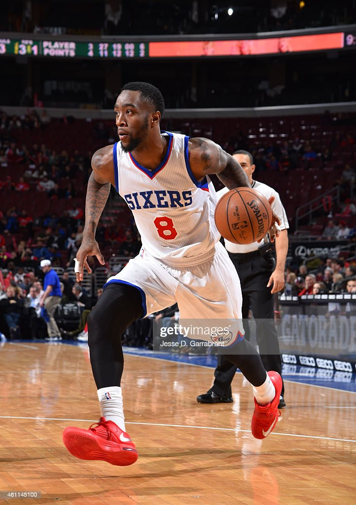 Tony Wroten of the Philadelphia 76ers dribbles the ball against the Milwaukee Bucks at Wells Fargo Center on January 7 2015 in Philadelphia...