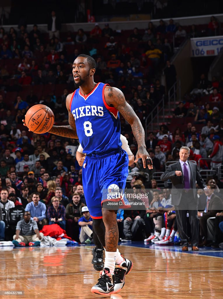 Tony Wroten of the Philadelphia 76ers dribbles the ball up the court against the Memphis Grizzlies on December 13 2014 at Wells Fargo Center in...