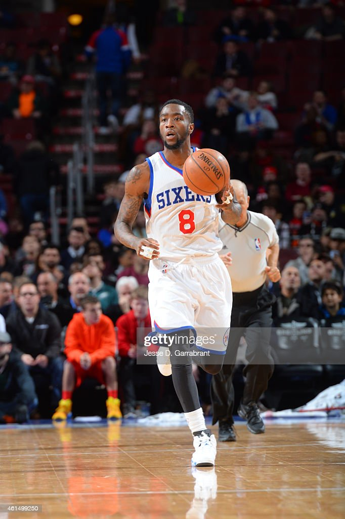 Tony Wroten of the Philadelphia 76ers dribbles the ball up the court against the Atlanta Hawks at Wells Fargo Center on January 13 2015 in...