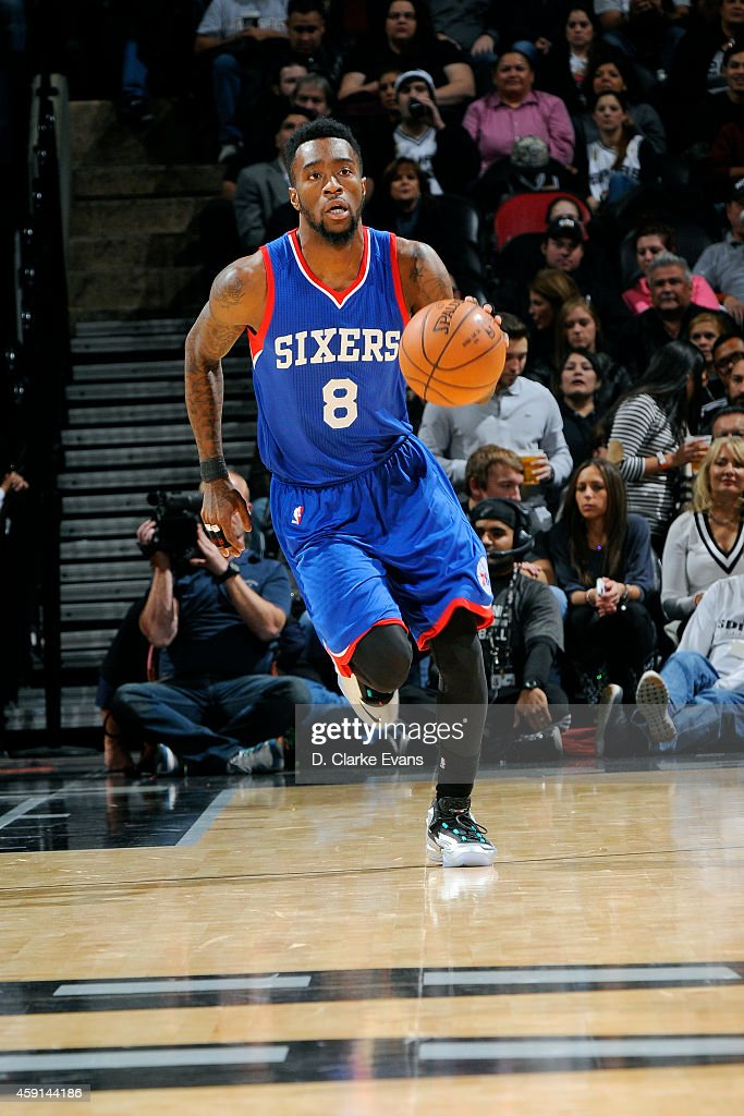 Tony Wroten of the Philadelphia 76ers drives against the San Antonio Spurs at the ATT Center on November 17 2014 in San Antonio Texas NOTE TO USER...