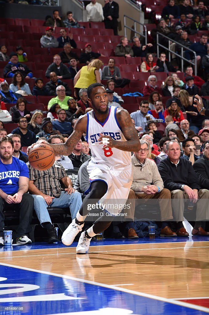 Tony Wroten of the Philadelphia 76ers drives baseline against the Atlanta Hawks at Wells Fargo Center on January 13 2015 in Philadelphia Pennsylvania...