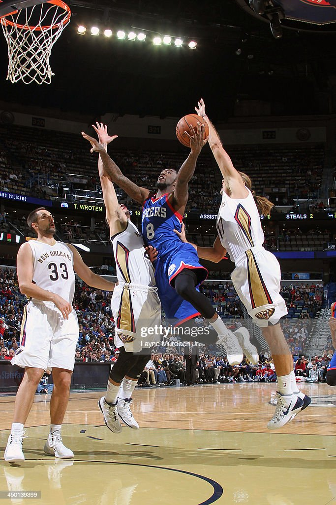<a gi-track='captionPersonalityLinkClicked' href=/galleries/search?phrase=Tony+Wroten&family=editorial&specificpeople=7651920 ng-click='$event.stopPropagation()'>Tony Wroten</a> #8 of the Philadelphia 76ers drives to the basket against the New Orleans Pelicans on November 16, 2013 at the New Orleans Arena in New Orleans, Louisiana.