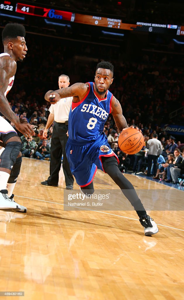 Tony Wroten of the Philadelphia 76ers drives to the basket against the New York Knicks during the game on November 22 2014 at Madison Square Garden...