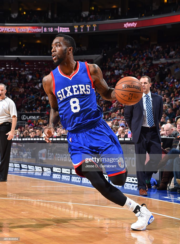 Tony Wroten of the Philadelphia 76ers drives to the basket against the Indiana Pacers at Wells Fargo Center on January 10 2015 in Philadelphia...