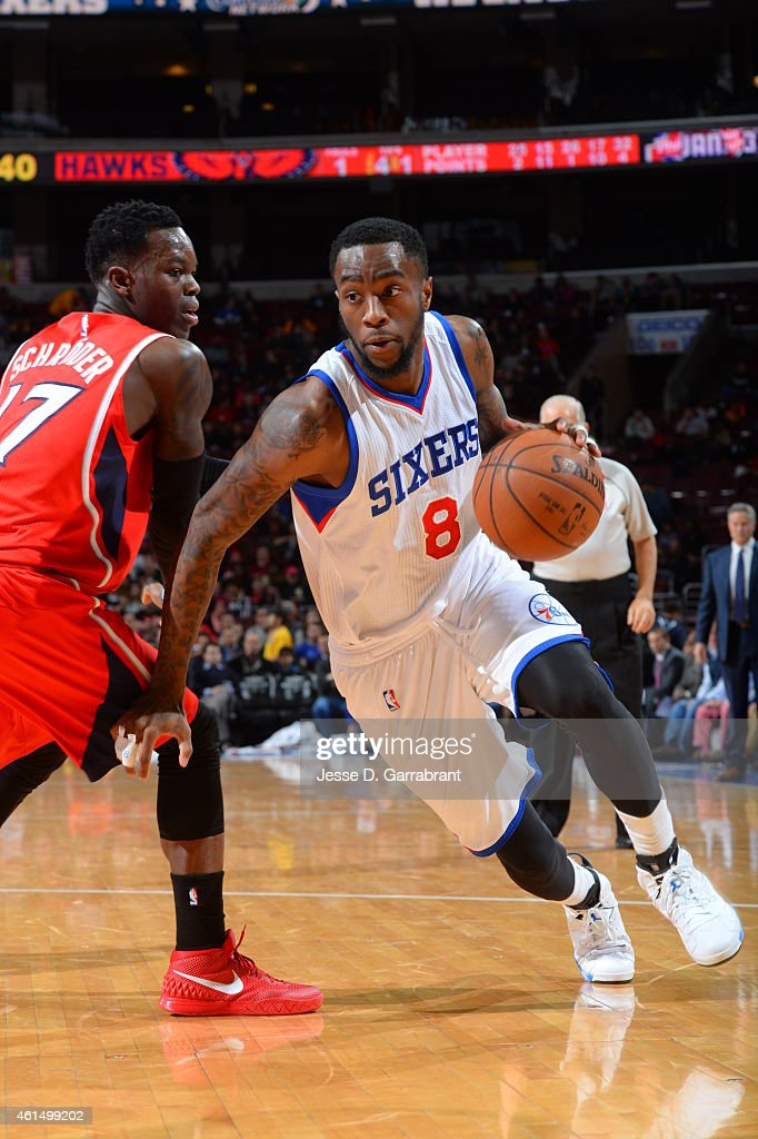 Tony Wroten of the Philadelphia 76ers drives to the basket against the Atlanta Hawks at Wells Fargo Center on January 13 2015 in Philadelphia...