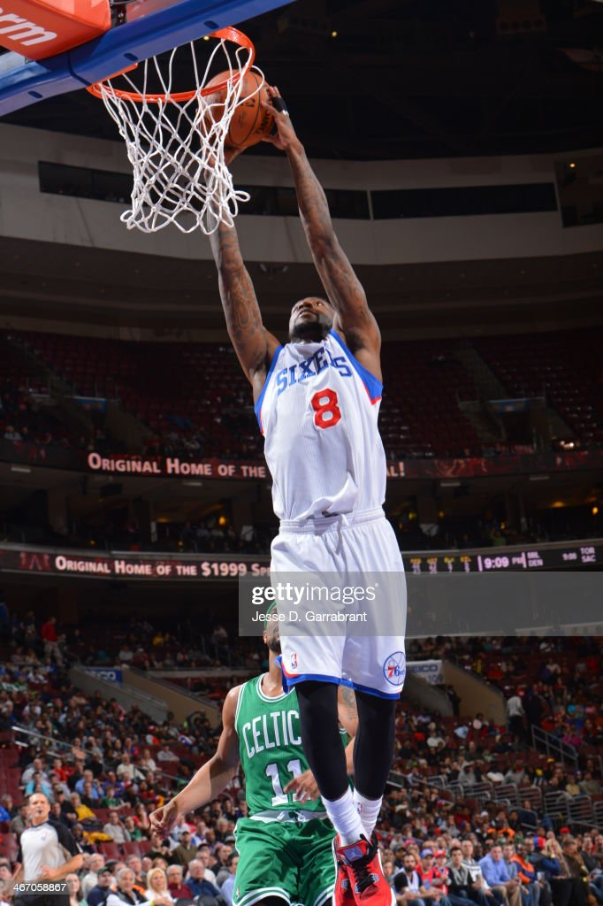 Tony Wroten of the Philadelphia 76ers dunking during a game against the Boston Celtics at the Wells Fargo Center on February 5 2014 in Philadelphia...