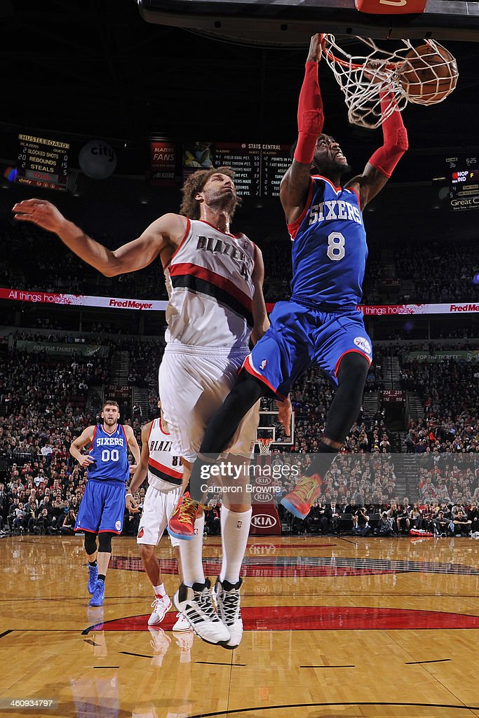 Tony Wroten of the Philadelphia 76ers dunks the ball against the Portland Trail Blazers on January 4 2014 at the Moda Center Arena in Portland Oregon...