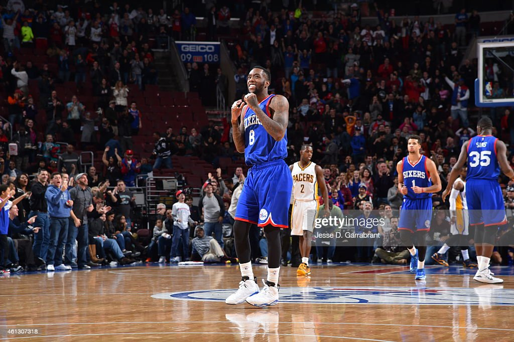 Tony Wroten of the Philadelphia 76ers gets excited after the huge win against the Indiana Pacers at Wells Fargo Center on January 10 2015 in...