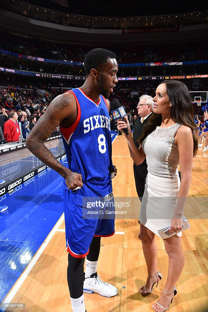 Tony Wroten of the Philadelphia 76ers gets interviewed by the media after the big win against the Indiana Pacers at Wells Fargo Center on January 10...