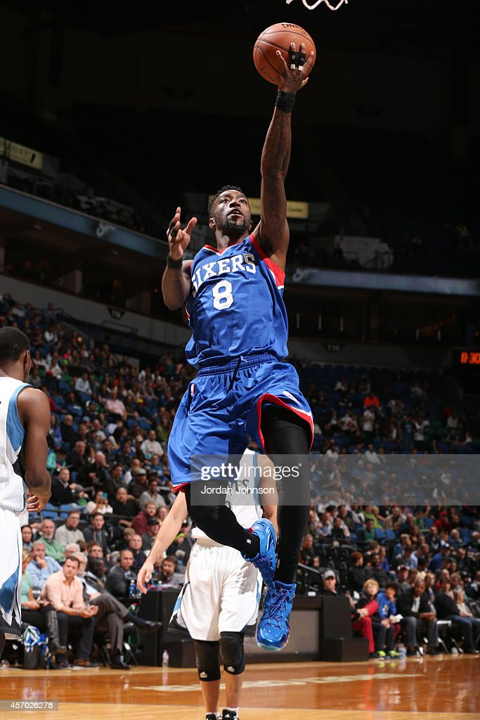 Tony Wroten of the Philadelphia 76ers gets the rebound against the Minnesota Timberwolves during the game on October 10 2014 at Target Center in...