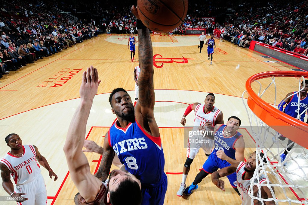 Tony Wroten of the Philadelphia 76ers goes up for a dunk against the Houston Rockets during the game on November 14 2014 at the Toyota Center in...